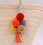 Colored Feather Ball Feather Wooden Bead Tassel Pure Handmade Key Chain