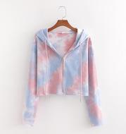 Cropped Sweatshirts Hooded Long-Sleeve TRAF Vintage Zip-Up Print Female Women Fashion