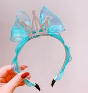 Hd1169A1 Korean Princess Wind Bright Face Mermaid Ji Net Yarn Bow Bright Diamond Crown Children'S Headband Headband Hair Accessories