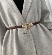 Adjustable Belt Decoration All-Match Coat Dress Fashionable Fine Cross Pattern Small Belt Women With Sweater