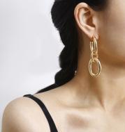 Flashbuy Thick Link U Shape Geometric Earrings Brass