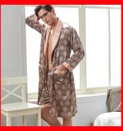 Xifenni spring and summer men's long-sleeved nightgown ice silk shorts bathrobe bathrobe thin two-piece pajamas 2050