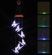 Solar Powered LED Wind Chime Light Hanging Color-Changing Yard Garden Butterfly Lamp Decor