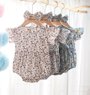 Newborn 0-3 Years Old Floral Flying Sleeve Sleeveless Triangle Crawl Baby Fart Clothes Triangle Crawl