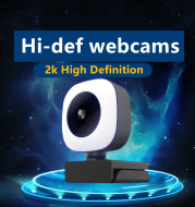 Full HD 2K Web Camera Auto Focus with Microphone for PC Laptop with Fill Lamp Web Cam