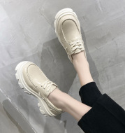 Flats Platform-Shoes Sole Chunky Round-Toe Beautoday Lace-Up Genuine-Cow-Leather Women