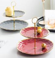 Nordic Minimalist Home Phnom Penh Creative Ceramic Skewer Double-Layer Fruit Plate
