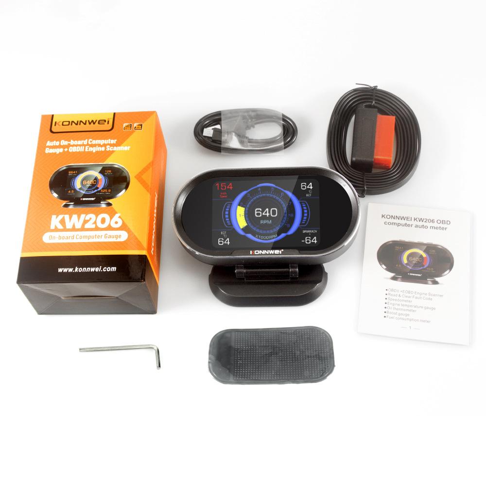 KW206 HUD OBD2 Car Diagnostic Scanner On-Board Computer Gauge DTC Engine Code Reader