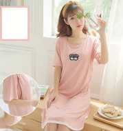 Spring And Summer Confinement Clothing Cartoon Breastfeeding Dress Nursing Clothing Pregnant Women Pajamas Postpartum Outing Hot Mom Large Size Dress