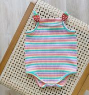 Baby Girl Candy Color Striped One-piece Romper For Girls