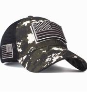 Quality Camouflage Baseball Cap American Flag Patch Cotton Mesh Cap Men's Hat Peaked Cap Amazon Hot Style