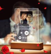 Customizable Photo Music Album Cover Night Light Carved Name Song Photo Frame