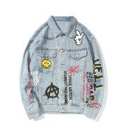Fashionable Men's Loose Lapel Graffiti Denim Jacket