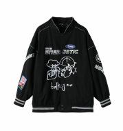 Autumn New Fashion Men'S Japanese Street Graffiti Embroidery Print Casual Loose Baseball Jacket