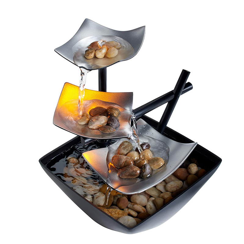 Tabletop Water Fountain - Metal Plates - Decor 4