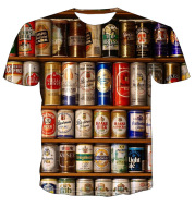 All Kinds Of Beer Cap 3D Printing T-Shirt Men'S Short-Sleeved T-Shirt Plus Size
