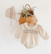 Baby Princess Style Romper with Lotus Leaf Collar Long Sleeve Triangle Romper