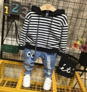 Children's Casual Hooded Sweater Striped Pants