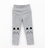 Girls Spring And Autumn Stitching Cat Print Leggings