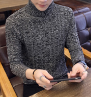 Turtleneck Autumn and Winter Solid Color Twist Pullover