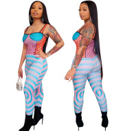 Beautiful Women'S Spot New Spring Style Sling Print Tight Sexy Jumpsuit