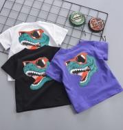 Crew Neck T-Shirt With Cartoon Print Back Pattern