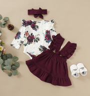 Three-piece set of baby and toddler flower print straps