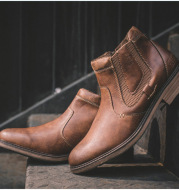 Men's Ankle Zipper Boots Winter Warm Shoes Men's Boots