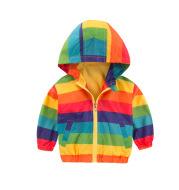 Rainbow Jacket Zipper Hooded Jacket For Kids