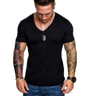 Men's Fashion Casual Sports Solid Color Plus Size V-Neck T-Shirt