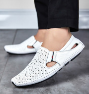 Casual Leather Shoes Soft Sole Hollow Peas Shoes