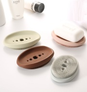 Creativity Double-Sided Silicone Soap Holder Box Flexible Multifunctional Bathroom Kitchen Dish Cleaning Brush Soap Storage Box