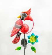 Solar Iron Art Red Bird Inserted Garden Lawn Lamp