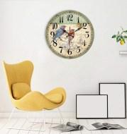 European Creative Wall Clock Wooden Living Room Quartz