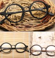 Round Frame Wood Grain Glasses Frame