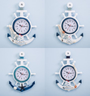 Mediterranean Style Blue And White Ship Rudder Helmsman Anchor Creative Personality Wall Clock