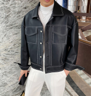 Short Motorcycle Leather Jacket Men's Loose Lapel Casual Leather Jacket
