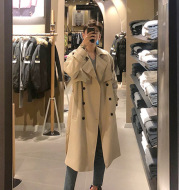 Mid-length Over-the-knee Loose Coat Handsome Coat