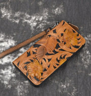 The First Layer Of Cowhide Leather Carving Craft Leisure Zipper Bag