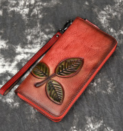 Tree Cream Leather European And American Long Retro Chain Wallet