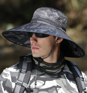 K51 Men's Summer Hat Outdoor Sun Screen Camouflage Hiking Hats Cycling Fishing Cap Big Brim Fisherman hat UV Protection