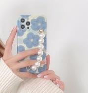 Blue Flower Pearl Bracelet For Mobile Phone Case