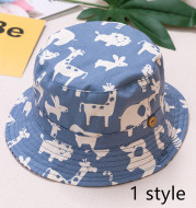 Spring And Autumn Children's Fisherman Hat Boys And Girls Print Basin Hat