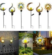 Outdoor Wrought Iron Ground Plug Solar Lawn Lamp Retro Hollow Courtyard Landscape Projection Lamp