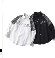Fake Two Long-Sleeved Men's Shirts Loose Black Shirts