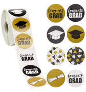 Round Graduation Sticker Graduation Cap And Diploma Label Party School Supplies Student Stationery Sticker