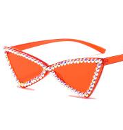 Retro Triangle Rimless Glasses Rhinestone Sunglasses Ladies Cat Eye Sunglasses