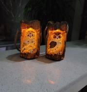 Resin Solar Stump Owl Lawn Night Light