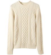 Lai Guanlin Same Sweater Men''s Round Neck Pullover Pure Woolen Sweater Autumn And Winter Thickened Retro Twist Slim Knit