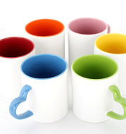 Coated Mug Heart Shaped Handle Inner Color Cup Ceramic Cup Customized Creative LOGO